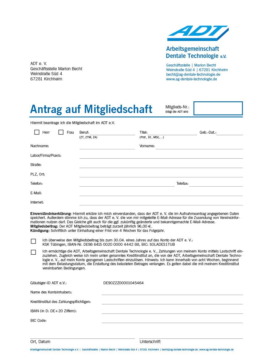 ADT - Antrag auf Mitgliedschaft